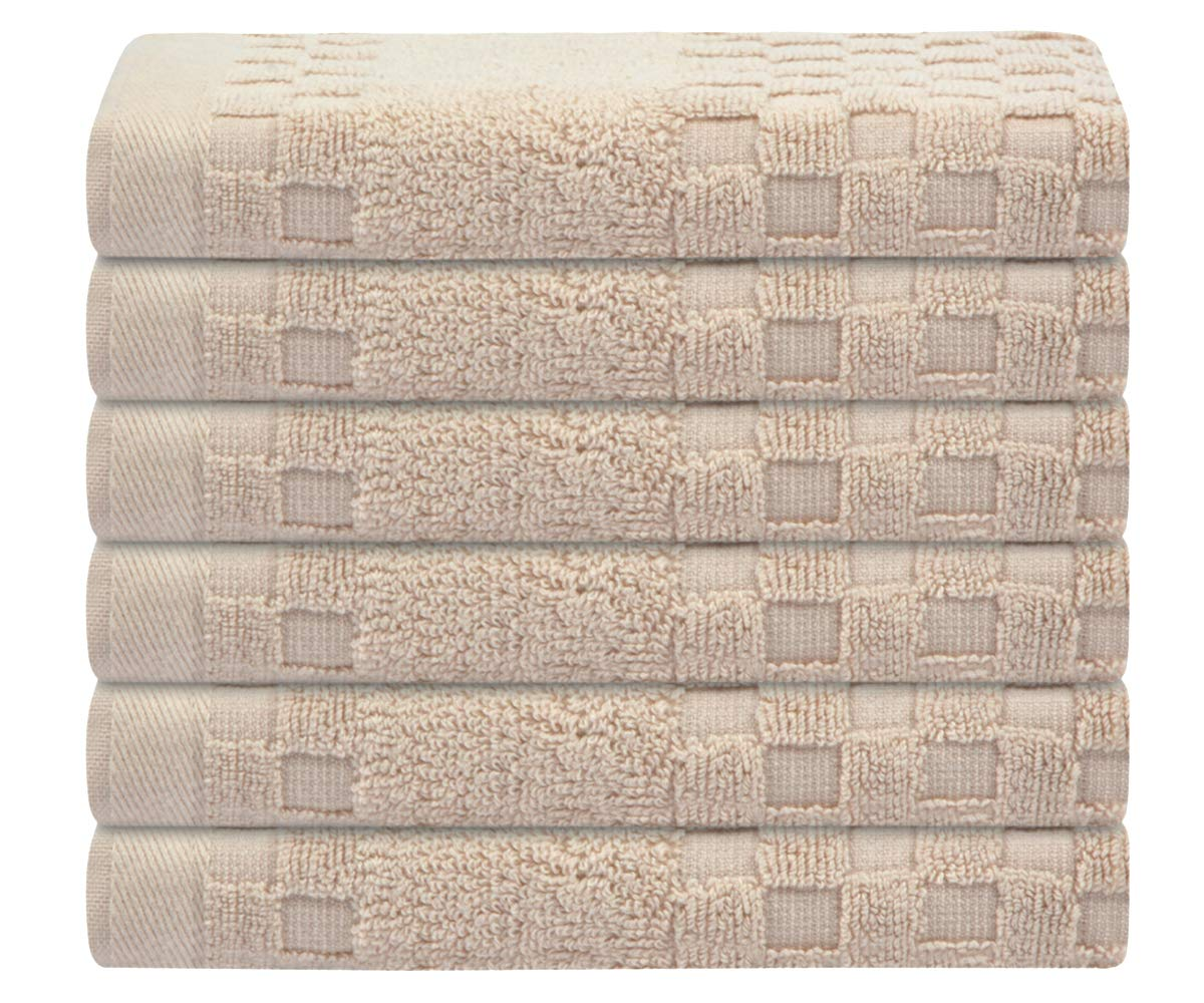 SUNLAND 100% Cotton Washcloths Extra Soft Fingertip Towels Highly Absorbent Face Cloths 6 Pack 13Inchx13Inch Light Brown