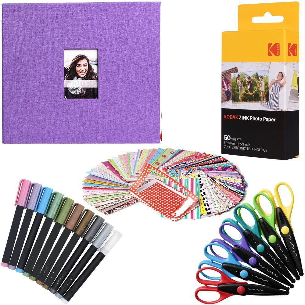Kodak 2x3 Premium ZINK Photo Paper (50 Sheets) + Camera Scrapbook + 100 Photo Border Stickers + 10 Markers + 6 Colorful Edge Scissors (Compatible With Printomatic)