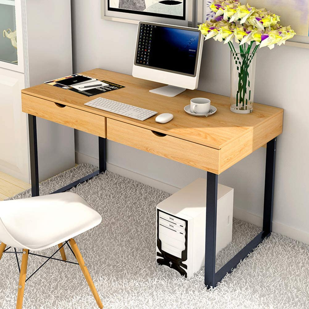 XM&LZ Home Computer Desk Dressing Table,Modern Study Writing Desk for Office Dormitory Bedside,Wooden Laptop Pc Table with Drawers Aa 100x48cm(39x19inch)