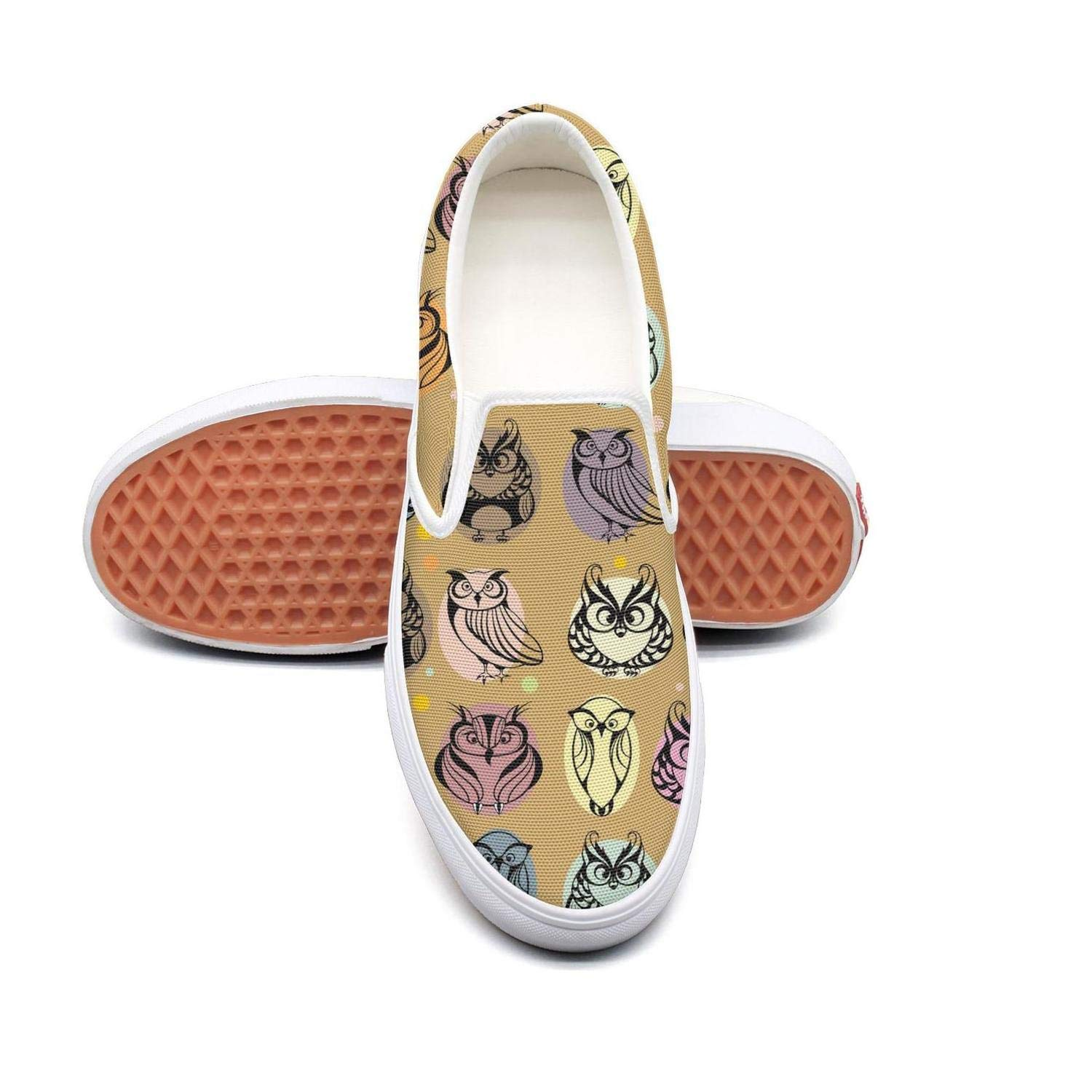 Colorful Funny Owl Habitat Womens Slip On Loafers Shoes Canvas Upper