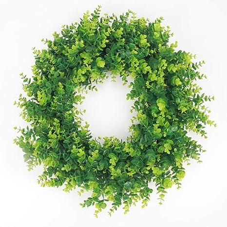 Amazon.com: Corona de hojas verdes artificiales de madera de ...
