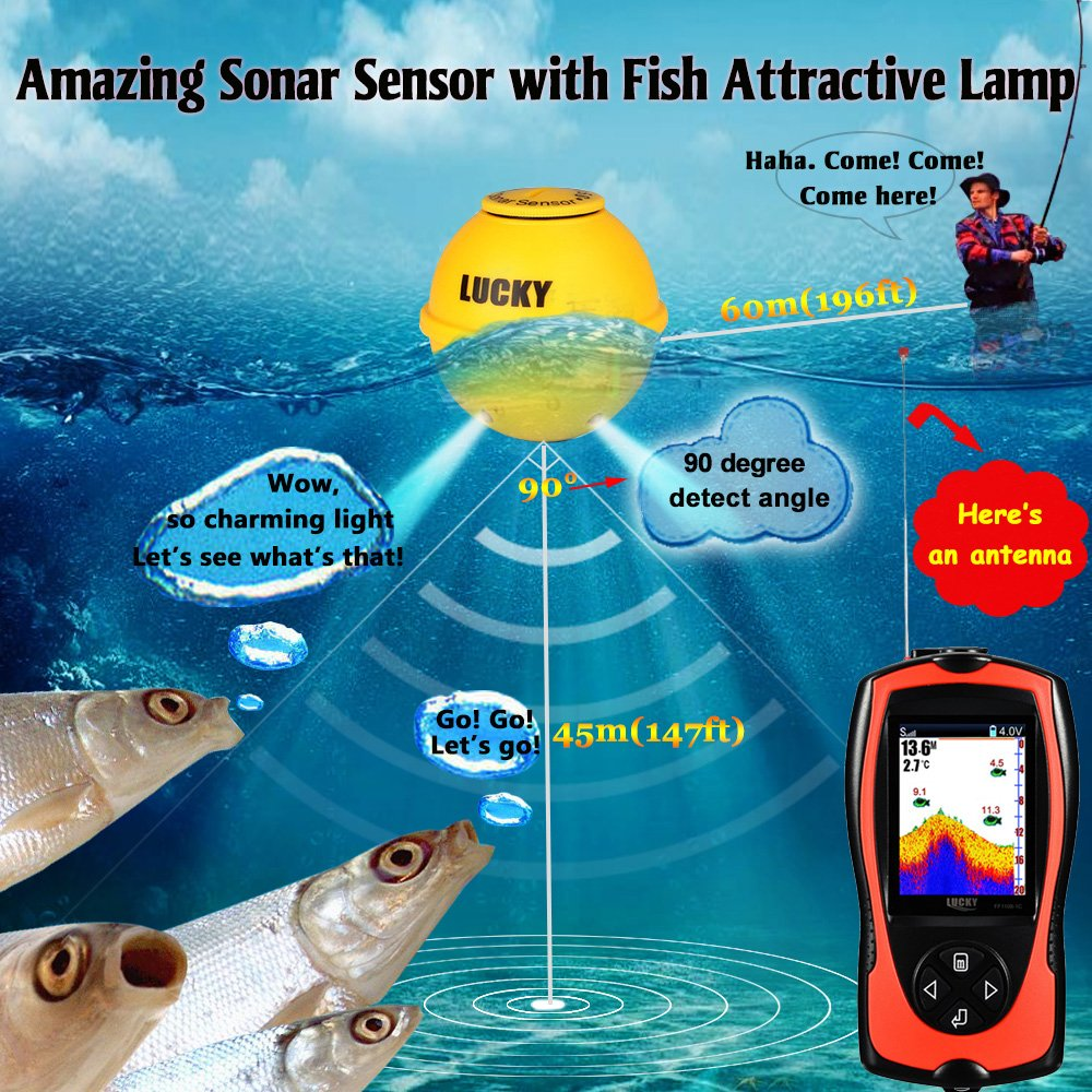 Lucky Portable Fish Finder Sonar Sensor 147 Feet Water Power Boat Installation Fishing Hunting Kayak Marine Led 210 Depth Sounder Lcd Screen Echo Fishfinder With Attractive Lamp For Ice