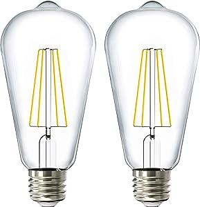 Sunco Lighting 2 Pack ST64 LED Bulb, Dusk-to-Dawn, 7W=60W, 4000K Cool White, Vintage Edison Filament Bulb, 800 LM, E26 Base, Outdoor Decorative String Light - UL, Energy Star