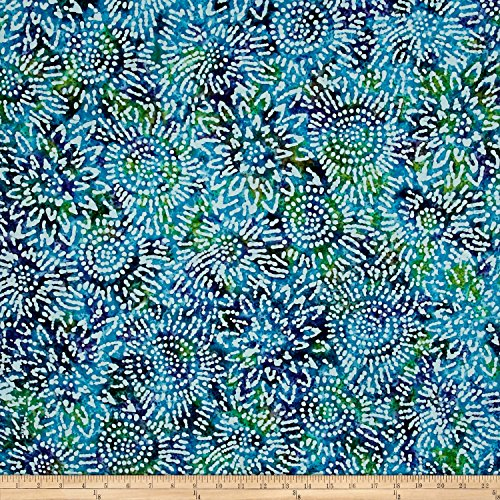 Teal Batik (Indian Batik Sunflower Blue/Purple/Teal Fabric By The Yard)