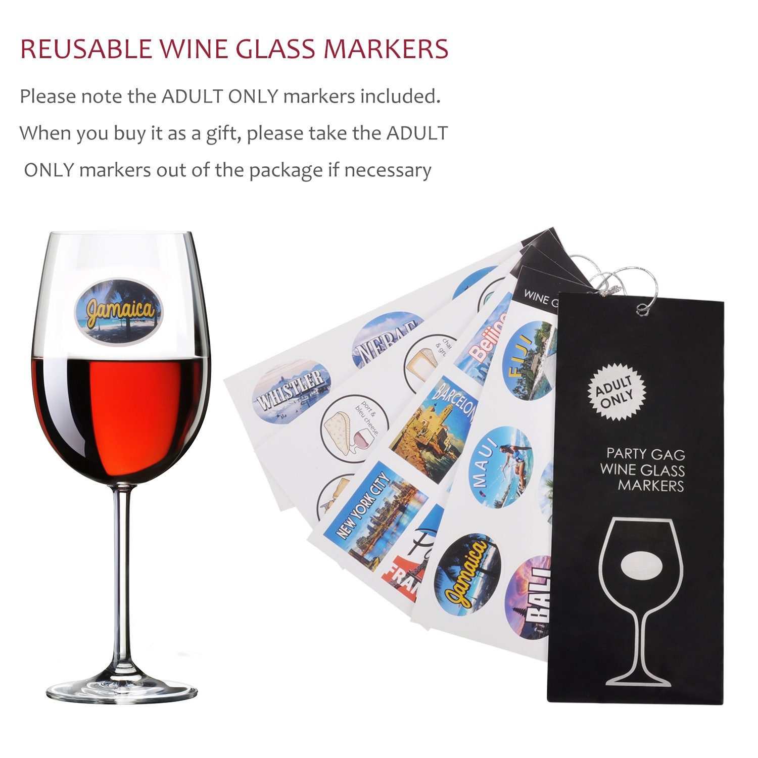 Wine Accessory Gift Set - Deluxe Wine Bottle Corkscrew Opener, Stopper, Aerator Pourer, Foil Cutter, Glass Paint Marker w/Reusable Drink Stickers in Gift Box, Wine Gifts for Wine Lover by Friend of Vines (Image #5)