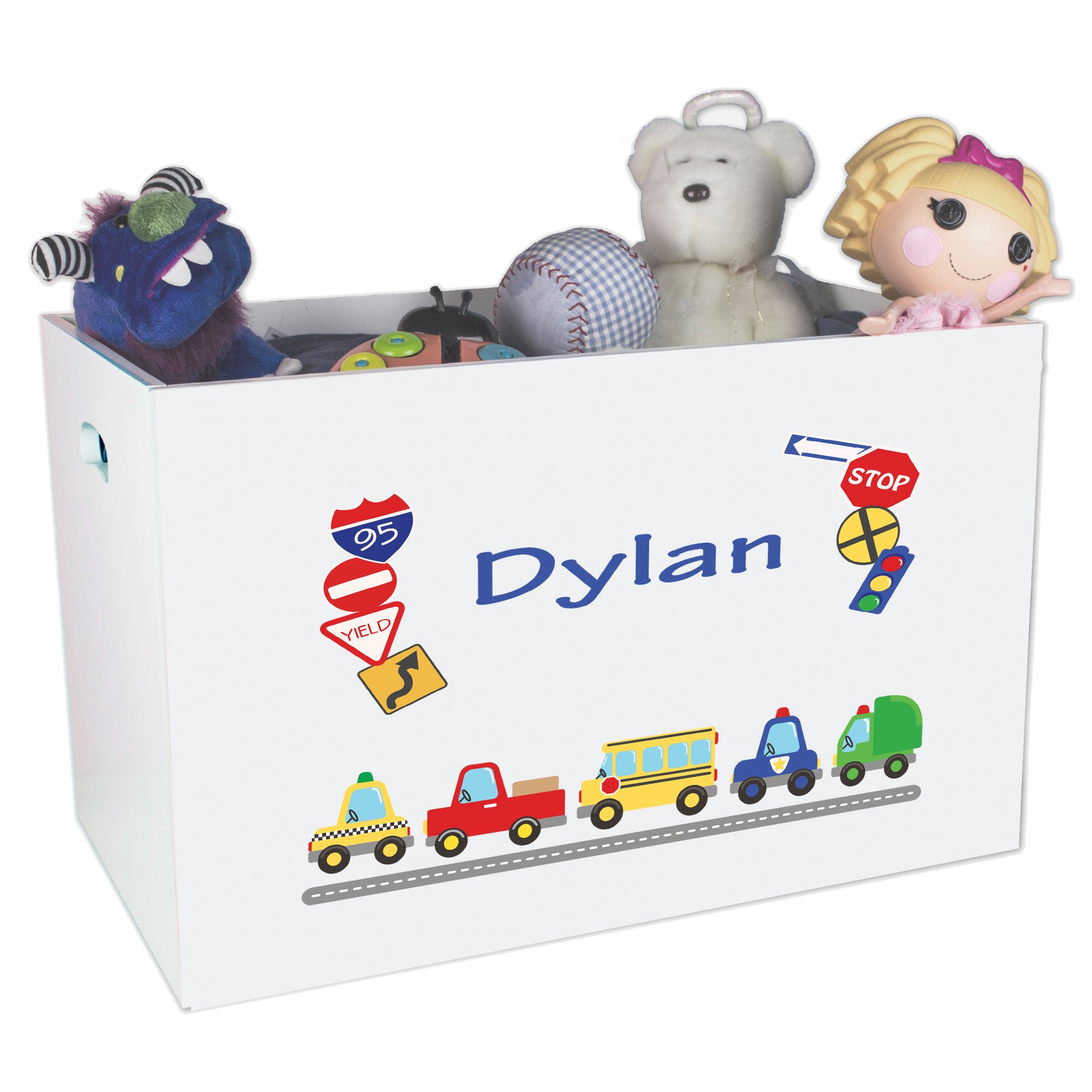 Personalized and Trucks Childrens Nursery White Open Toy Box