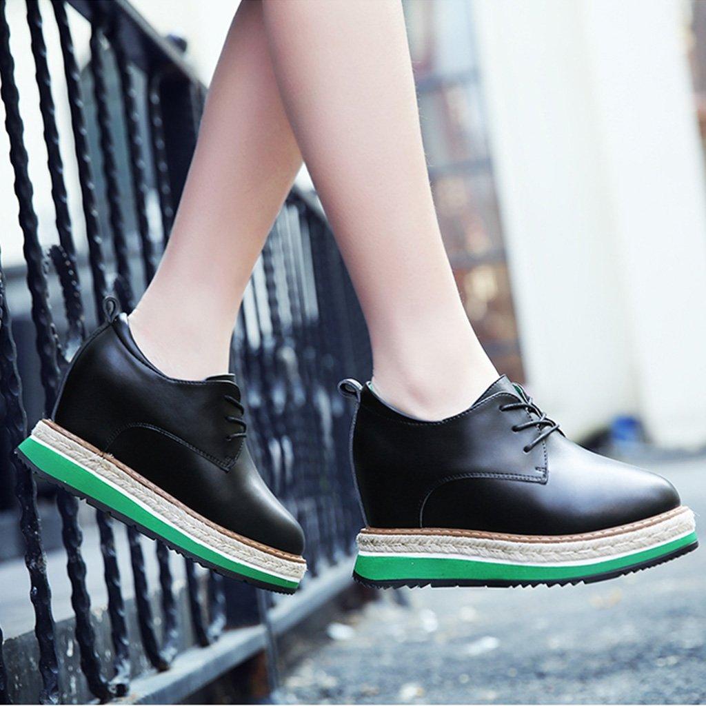 Damenschuhe HWF Frühling stieg innerhalb der britischen britischen britischen Art-Plattform der Frauen weibliche Lederschuhe Dickes Soled zufälliger einzelner Schuhe (Farbe : Schwarz, größe : 38)Schwarz 50f298