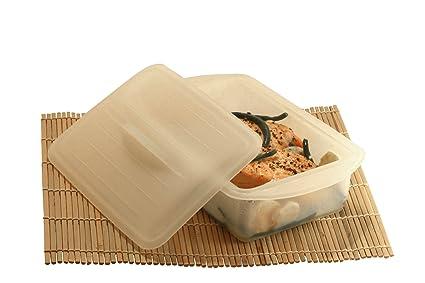 DiBocati #1 Estuche de Vapor 2-3 Personas. Recipiente para cocinar Recetas Sanas y Fáciles al microondas y en Papillote. 2 Años Garantía de Recambio.