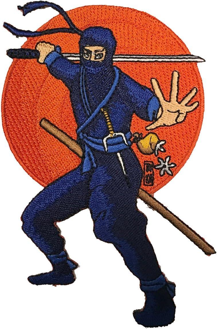 Ninja Japanese Fighter Posed to Strike Iron On Patch