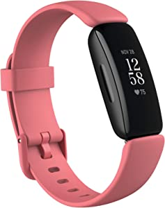 Fitbit Inspire 2 Health & Fitness Tracker with a Free 1-Year Fitbit Premium Trial, 24/7 Heart Rate, Black/Rose, One Size (S & L Bands Included)