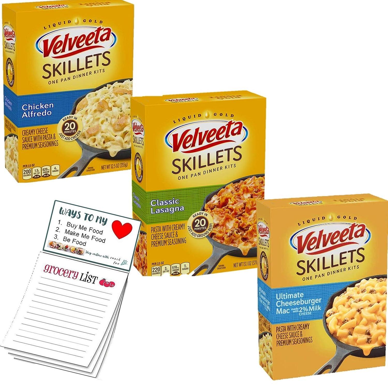 Velveeta Skillets Variety pack of 3   Kraft Box Dinner Variety Pack   Classic Lasagna   Chicken Alfredo   Ultimate Cheeseburger Mac   Snack Fun Shopping Pad