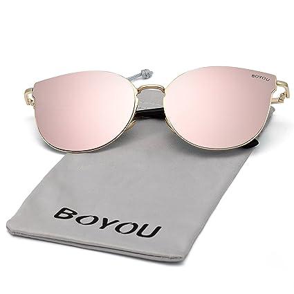 BOYOU Lente de espejo completo Premium Lentes de estilo aviador gafas de sol con protección UV400