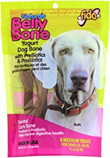 product image for Fido Dental Care Belly Bones for Dogs, Yogurt Flavor - Safely Digestible Chew That Promotes Plaque and Tartar Control-Helps to Support Your Dog's Digestive Health