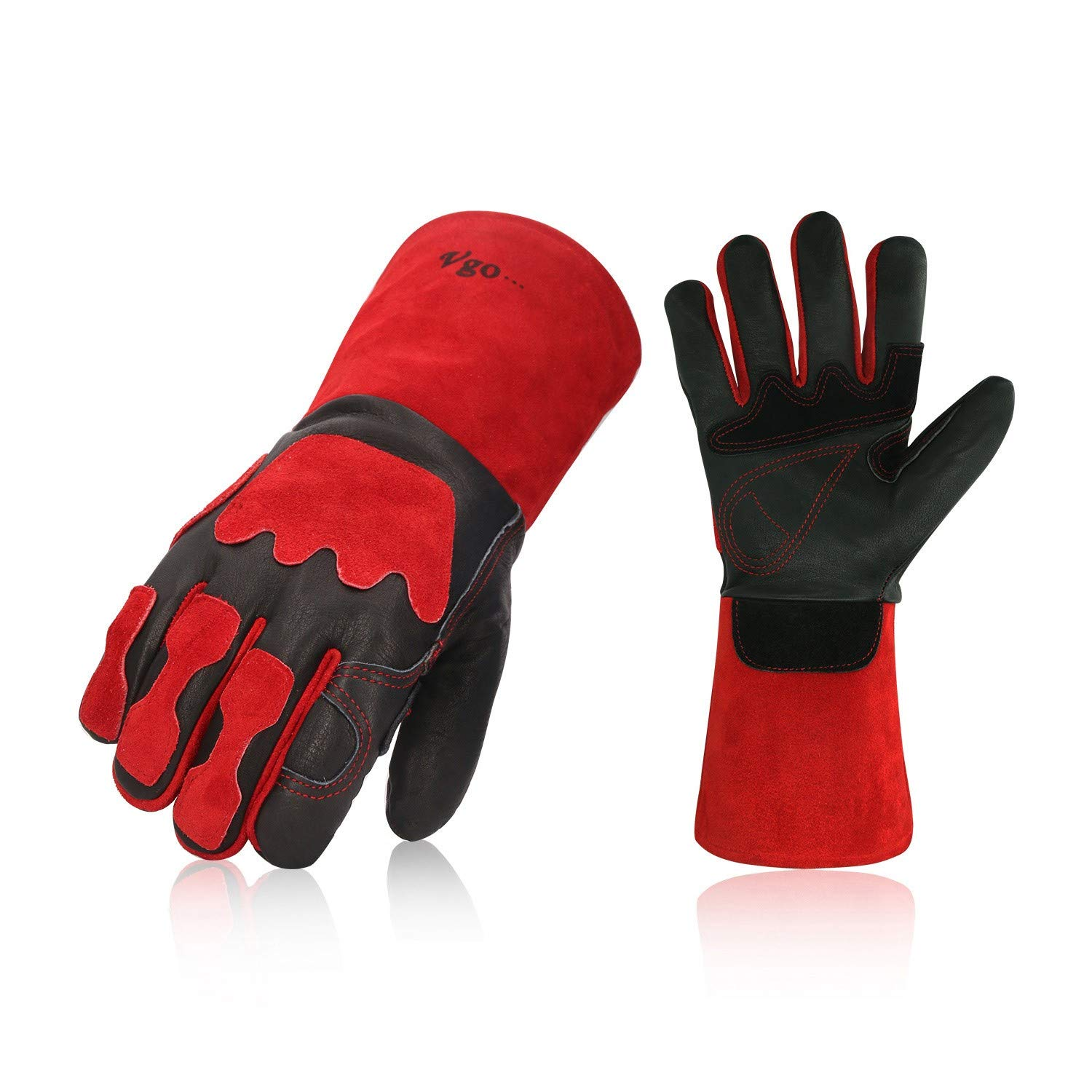 Vgo 2Pairs Premium Cow Grain Leather Welding Gloves For Oven, Grill, Fireplace, Stove, Pot Holder, Tig Welder, Mig, BBQ (Red, 13.5in, CA6637)
