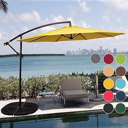 Elegant Sundale Outdoor 10 Feet Aluminum Offset Patio Umbrella With Crank And Cross  Bar Set, Cantilever