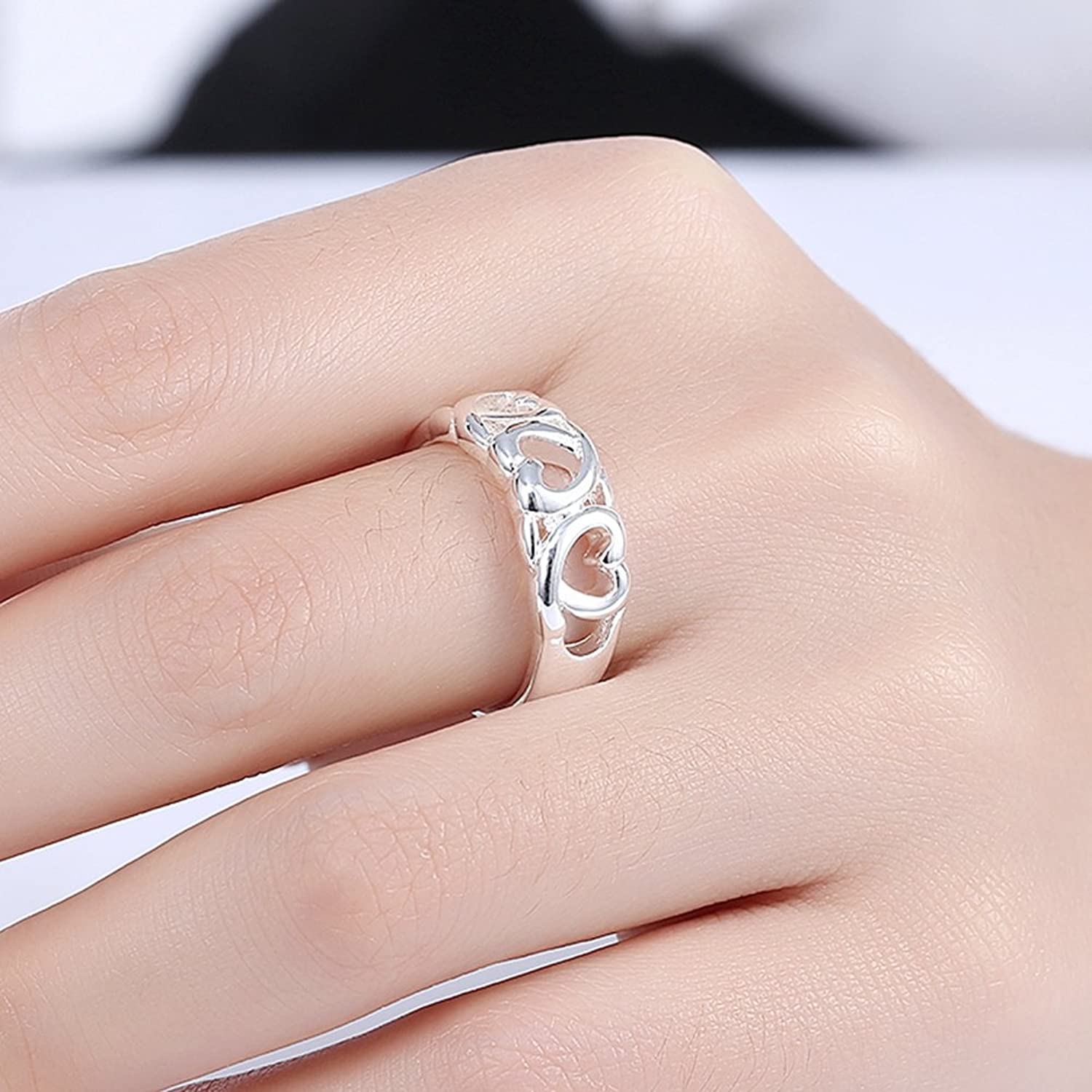 Haokan Women Fashion Jewelry Silver Plated Hollow Heart-shaped Party ...