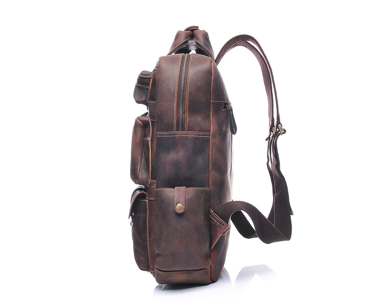 Casual Leather Backpack Mens Shoulder Bag Horse Leather Retro Travel Bag Leather Backpack Tourism Large Capacity Outdoor Hiking Travel Backpack Color : Brown, Size : L