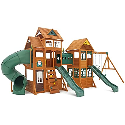 Amazon Com Cedar Summit Wooden Play Set Complete Park Forts Slides