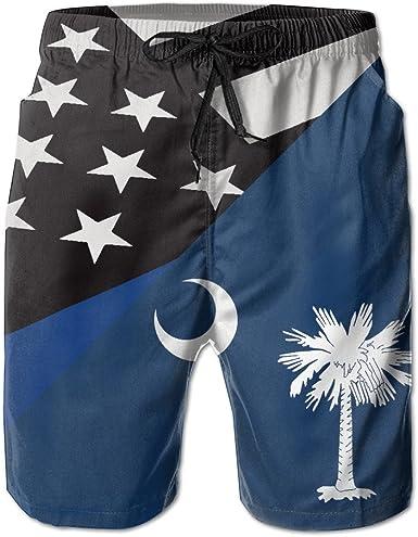 Mens South Carolina USA Flag Board Shorts Swim Trunks