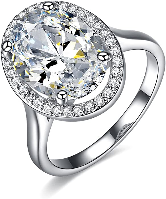 UMODE Jewelry 6 Carat Oval Shaped Stunning Cubic Zirconia CZ Halo Engagement Wedding Ring for Women