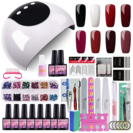 Saint-Acior 24W LED Lámpara Secador de Uñas 8PCS Gel Uñas 8ml Topcoat Base Coat