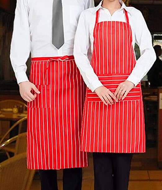 1950s Men's Costumes: Greaser, Elvis, Rockabilly, Prom SunKni 2 Pack Professional Aprons with Pockets for Adults Women Men Durable Stripe Commercial Chef Apron for Kitchen Cooking Baking Grill Restaurant Home 100% Spun Polyester (Red)  AT vintagedancer.com