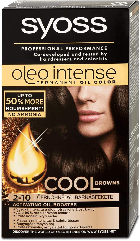 Syoss Oleo Tinte Intenso para el Cabello 100% Aceites Puros 0% Amonia 2-10 Negro Marrón