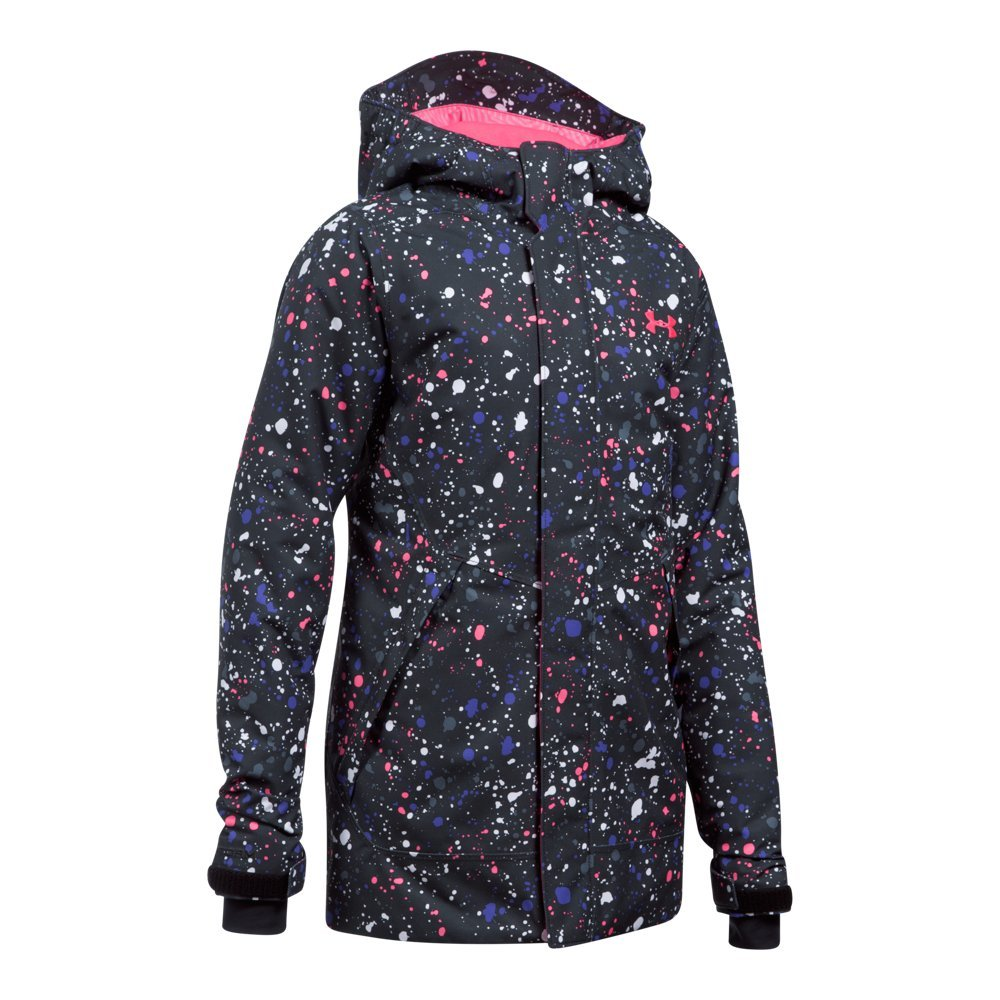 Under Armour Outerwear Youth Girls Cold Gear Infrared Power Line Ins Jacket, Black/Penta Pink, Medium