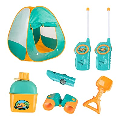 Vokodo Kids Camping Tent Playset Includes Pop Up Tent 2 Walkie Talkies and Variety of Outdoor Toy Tool Gear Playhouse Boosts Imagination Creativity Perfect Pretend Play Gift for Children Boys Girls: Toys & Games