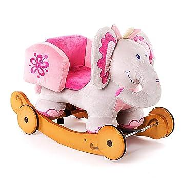 2 en 1 niño Mecedora Caballo de Juguete Animal de Peluche - Elefante Rosa, Mecedora Juguete, Rocker con Rueda para