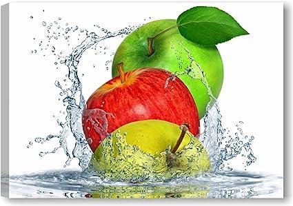 Quadri L C Italia Apples Fresh Quadro Cucina Moderno Con Frutta 70 X 50 Stampa Su Tela Canvas Da Parete Per Arredamento Amazon It Casa E Cucina
