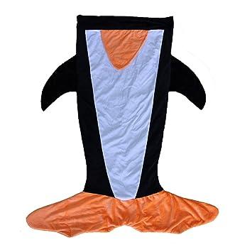 GYK Boutique Saco de Dormir de pingüino de Doble Capa para niños de Dibujos Animados, Negro: Amazon.es: Deportes y aire libre