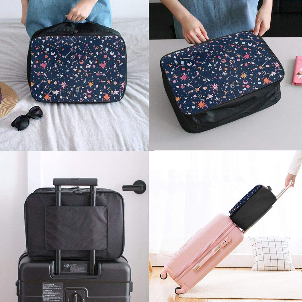 Cartoon Constellation In Navy Blue Travel Lightweight Waterproof Folding Storage Portable Luggage Duffle Tote Bag Large Capacity In Trolley Handle Bags 6x11x15 Inch
