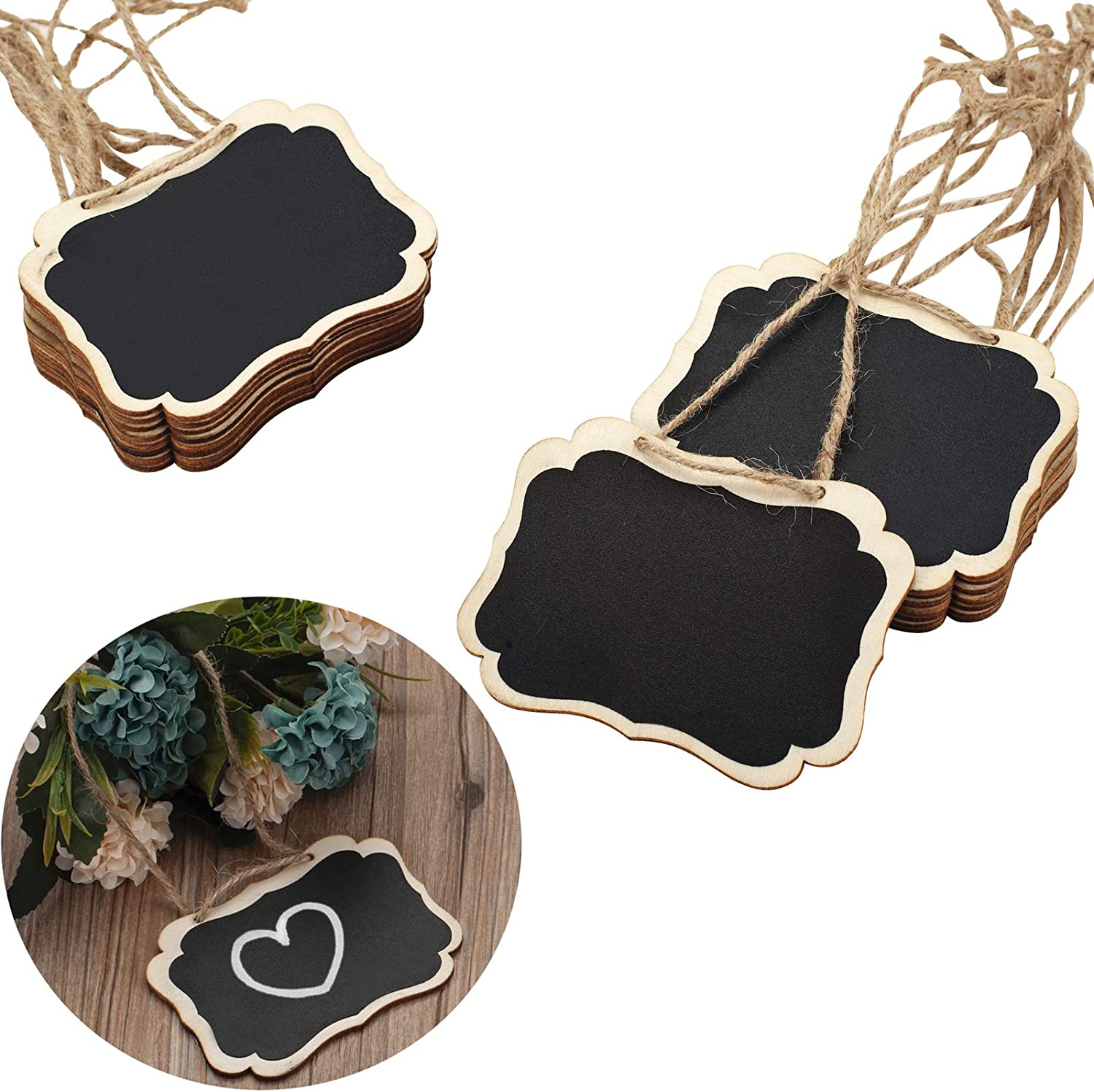 16 Pack Chalkboard Tags with Hanging String, Double Sided Blackboard Wooden Mini Chalkboard Signs, Hanging Chalkboard Labels Erasable Message Board Signs for Wedding or Party Decorations, Food Tags