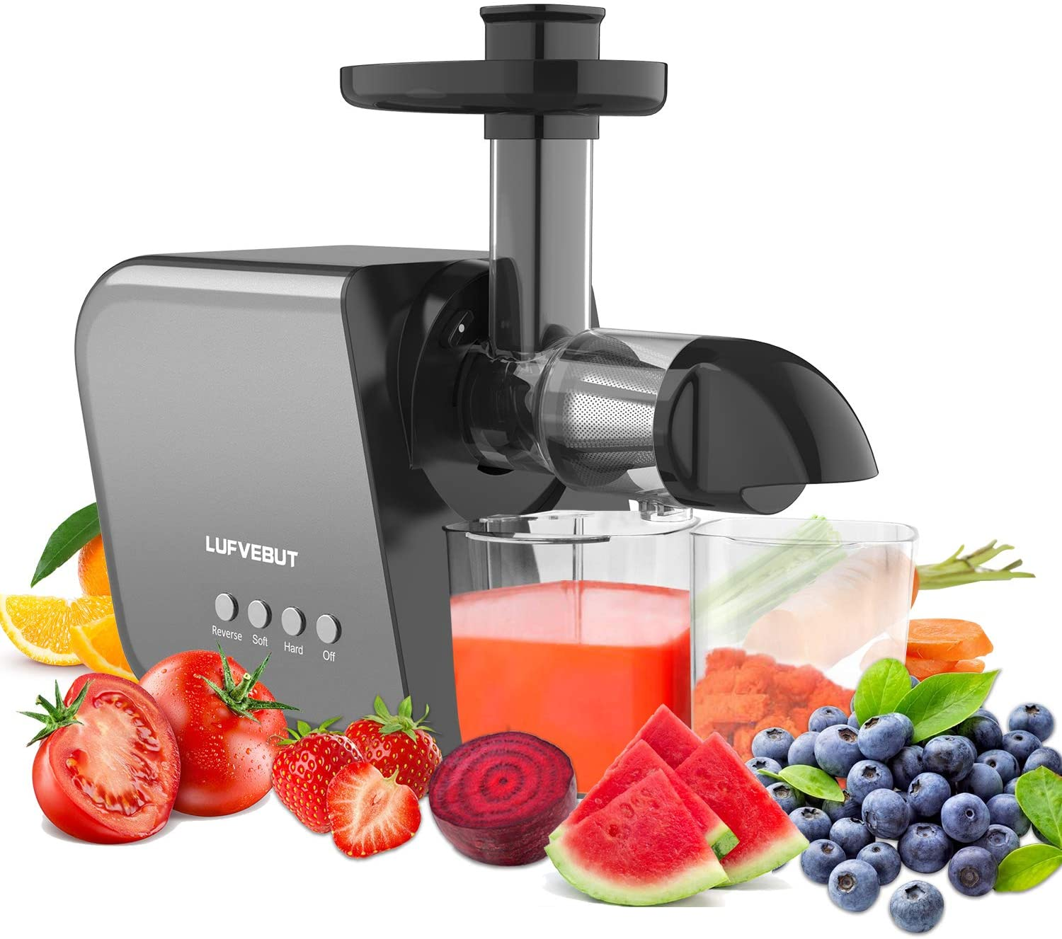Home Juicers Fruit Vegetable Slow Masticating Juicer Machines Cold Press High Yield Extractor BPA-Free Quiet Motor Reverse Function Easy to Clean for Celery Carrot Citrus Greens Ginger Wheatgrass