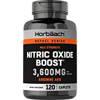 Nitric Oxide Booster 3600mg | 120 Caplets | Nitric Oxide Pills with Arginine AKG for Men and Women | Non-GMO, Gluten Free Pre Workout Supplement | by Horbaach