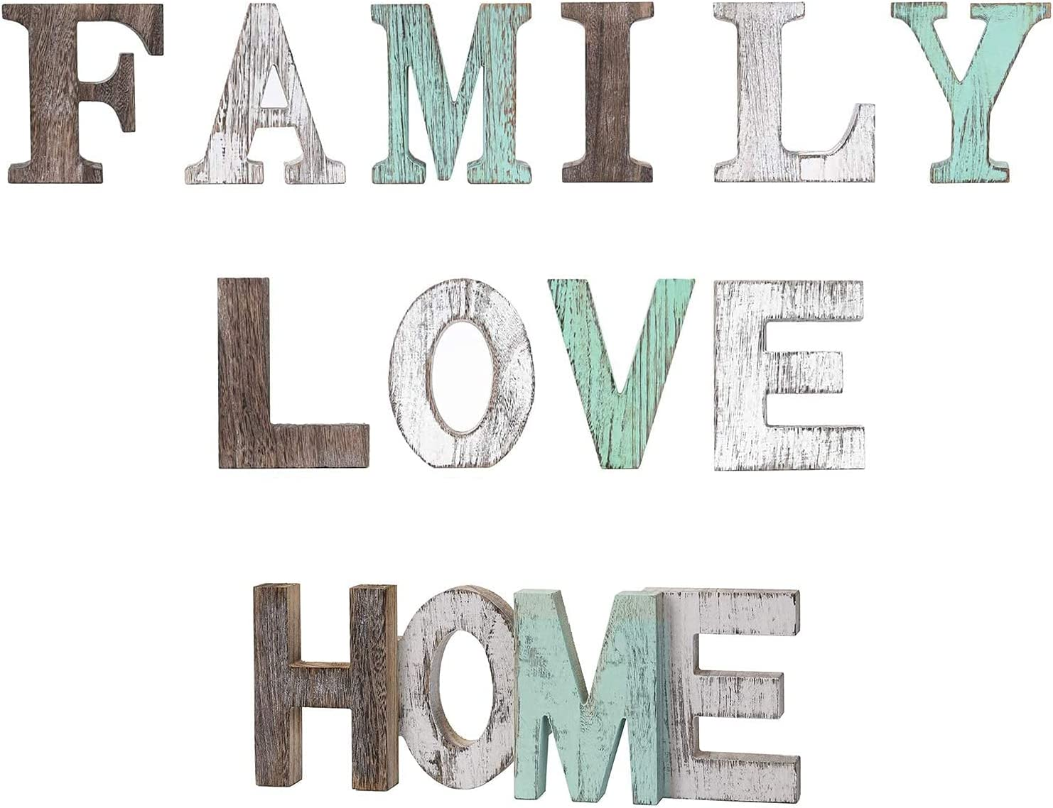 Home Sign Love Sign and Family Sign Set of 3, Wooden Blocks Letters Cutout Table Centerpiece Green Wall Decor, Gift for Mother's Day, Thanksgiving, Valentine