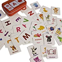 Elloapic Baby Infant 56pcs Flash Card Jigsaw Cognition Puzzle Cartoon Story Alphabet Matching Cognitive Learning Early Education Card Learning Toys in a Box (Alphabet Cognition)