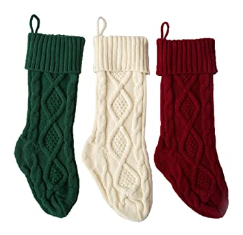 Cable Knit Christmas Stockings.Sherrydc Crochet Cable Knit Christmas Stockings 18 Hanging Socks For Christmas Decorations Set Of 3