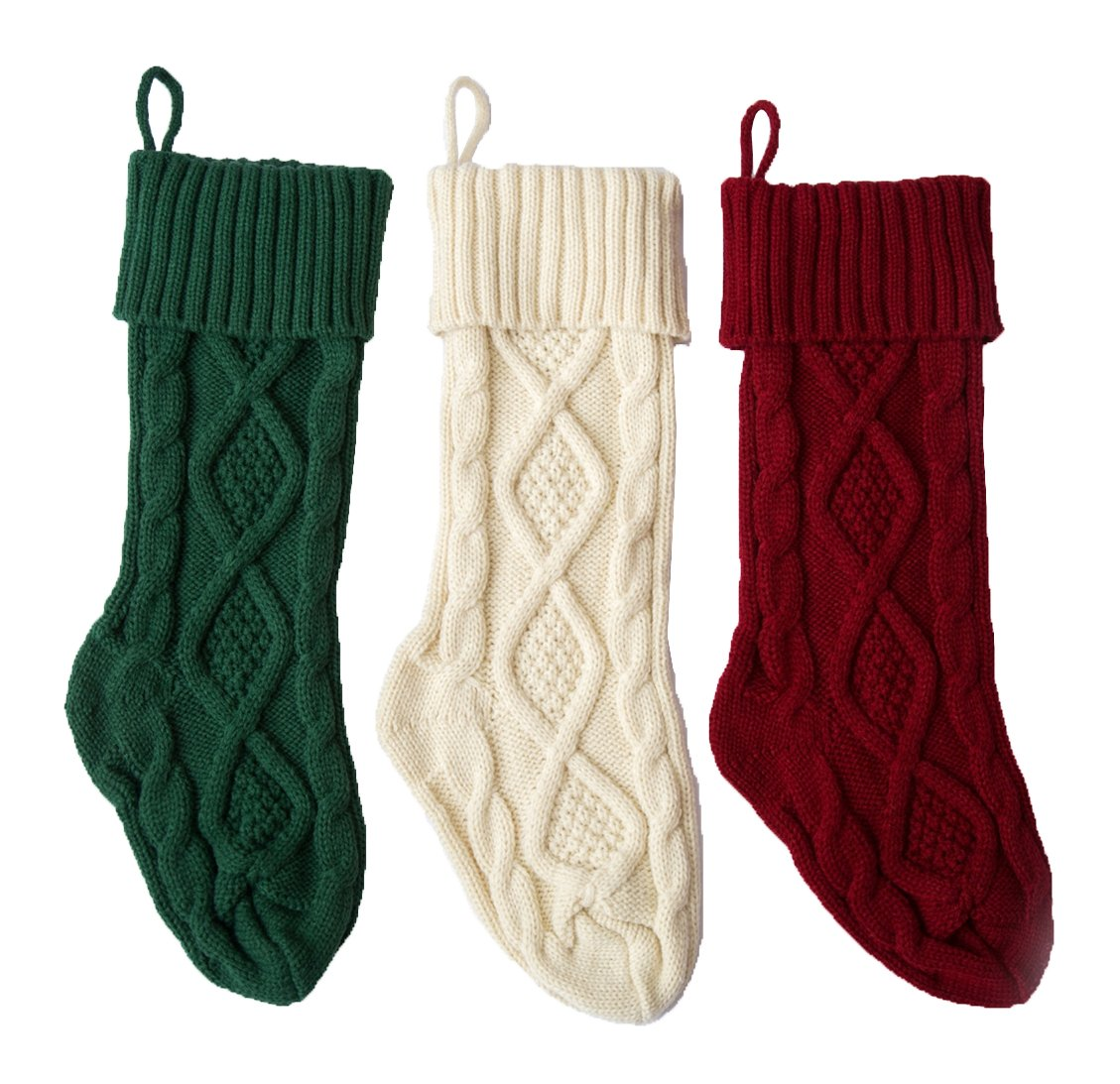 SherryDC Crochet Cable Knit Christmas Stockings Hanging Socks Decoration, Set of 3