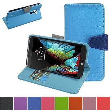 LG K10 Funda,Mama Mouth PU Cuero Billetera Cartera Monedero Con Soporte Funda Caso Case para LG K10 LTE M2 K SERIES Smartphone,La luz azul