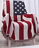 WELIGHT American Rustic Style Jacquard Throw Couch Cover Soft Sofa Blanket,Perfect as a Bed Throw or Couch Blanket or Tablecloths,American Flag Design 51 by 71 Inches