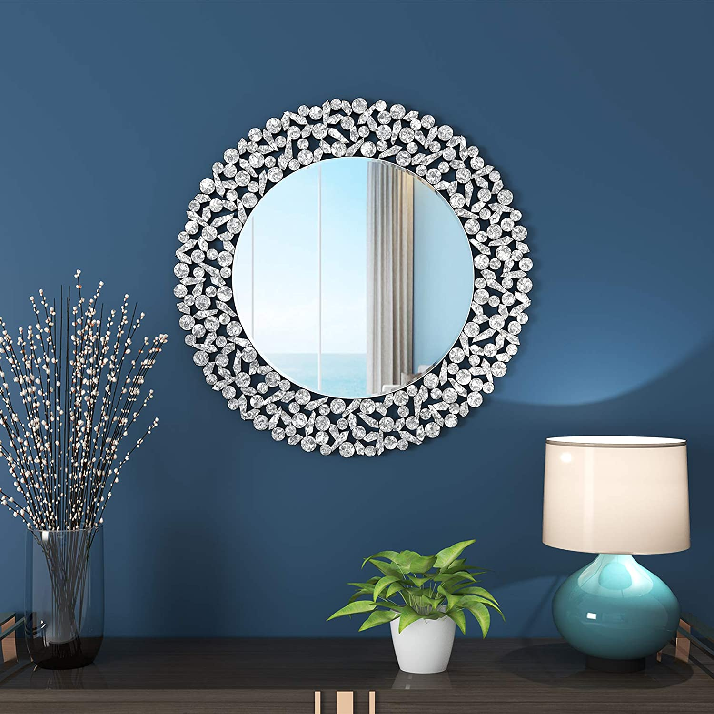 "KOHROS Large Antique Wall Mirror Ornate Glass Framed Venetian Decor Mirror Bedroom,Bathroom, Living Room (31.5"" Cricle)"
