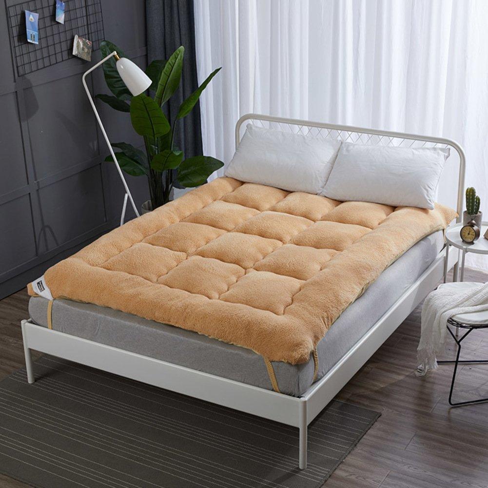 LJ&XJ 畳マットレスを厚く,折り畳み式ソフト畳の快適な耐久性のあるベッドのマットレス,ノンスリップの床マット-ブラウン 180*198cm B07CK19BPN ブラウン 180*198cm