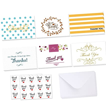 amazon com thank you cards 24 assorted thank u greeting note card