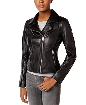 b865688b MICHAEL Michael Kors Black Leather Moto Jacket at Amazon Women's Coats Shop