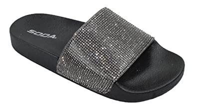 4010f40d6d767c Image Unavailable. Image not available for. Color  Soda Shoes Women Flip  Flops Sandals Bling Rhinestone Crystal Slides Footbed Sylvia Black 8