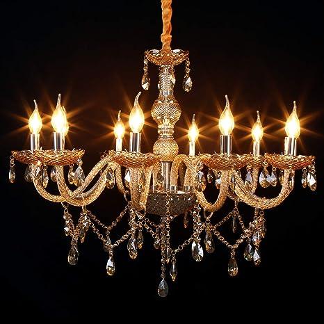 Samger 10 Arm Chandelier K9 Cristal Lámpara de techo E12 Lámpara colgante Color cognac para la sala de estar Dormitorio Entrada en el pasillo