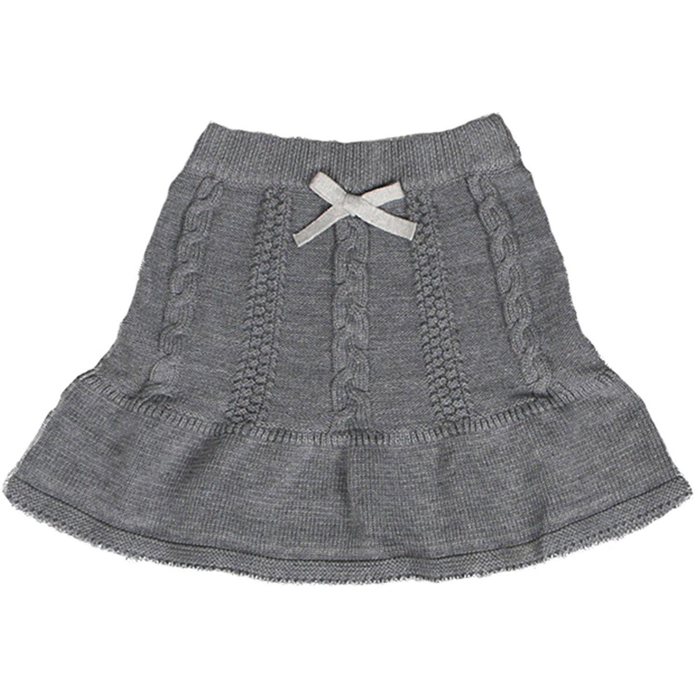 Baby Little Girls Autumn Winter Fine Cable Knit Sweater Skirt Kids A-line Dress Cotton Knitwear Grey 100
