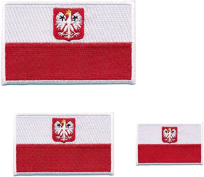 3 Republik Polen Flaggen Warschau Polska Flags Patch Aufnäher Aufbügler 0661 Auto
